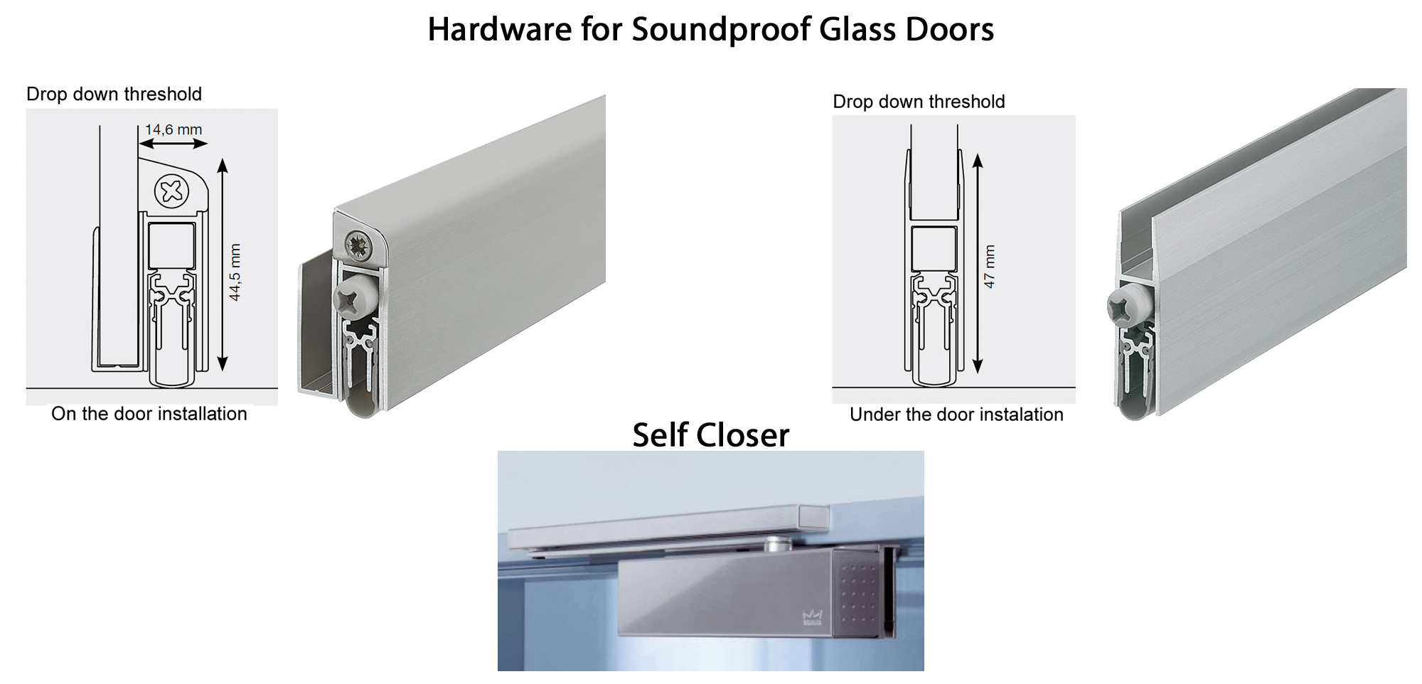 hardware for soundproof glass doors