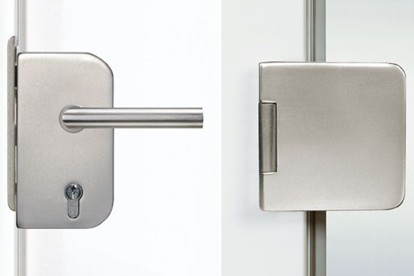 Hardware for glass doors round form