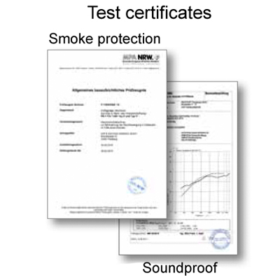 Test certificates for smoke proof glass doors