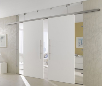 White painted double doors with 2 side panels and top panel - sliding doors