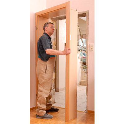 put on position the frame with architrave