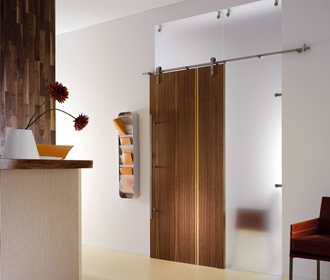 Walnut real wood veneer sliding door with side and top panel wall partition
