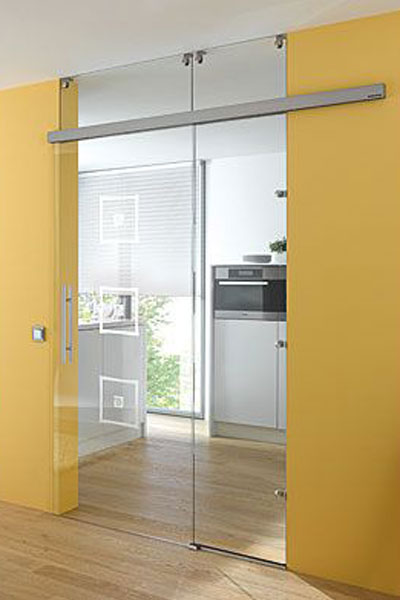 Glass sliding door with side and top panels