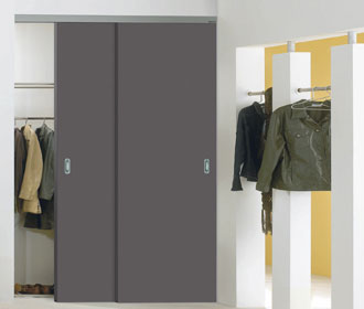 Black laminate sliding wood door