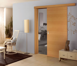 Beech veneer sliding door