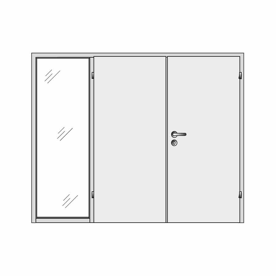 Double door with one side panel