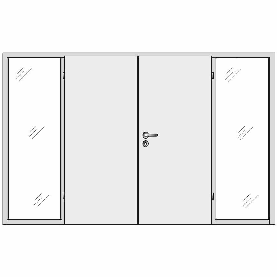 Double doors with double side panels