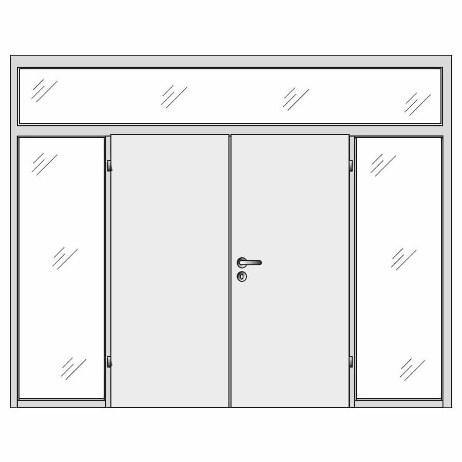Double doors with top and sides glass panels
