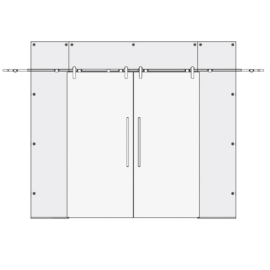 Glass Partition Type 3 double sliding doors with top and 2 side panels