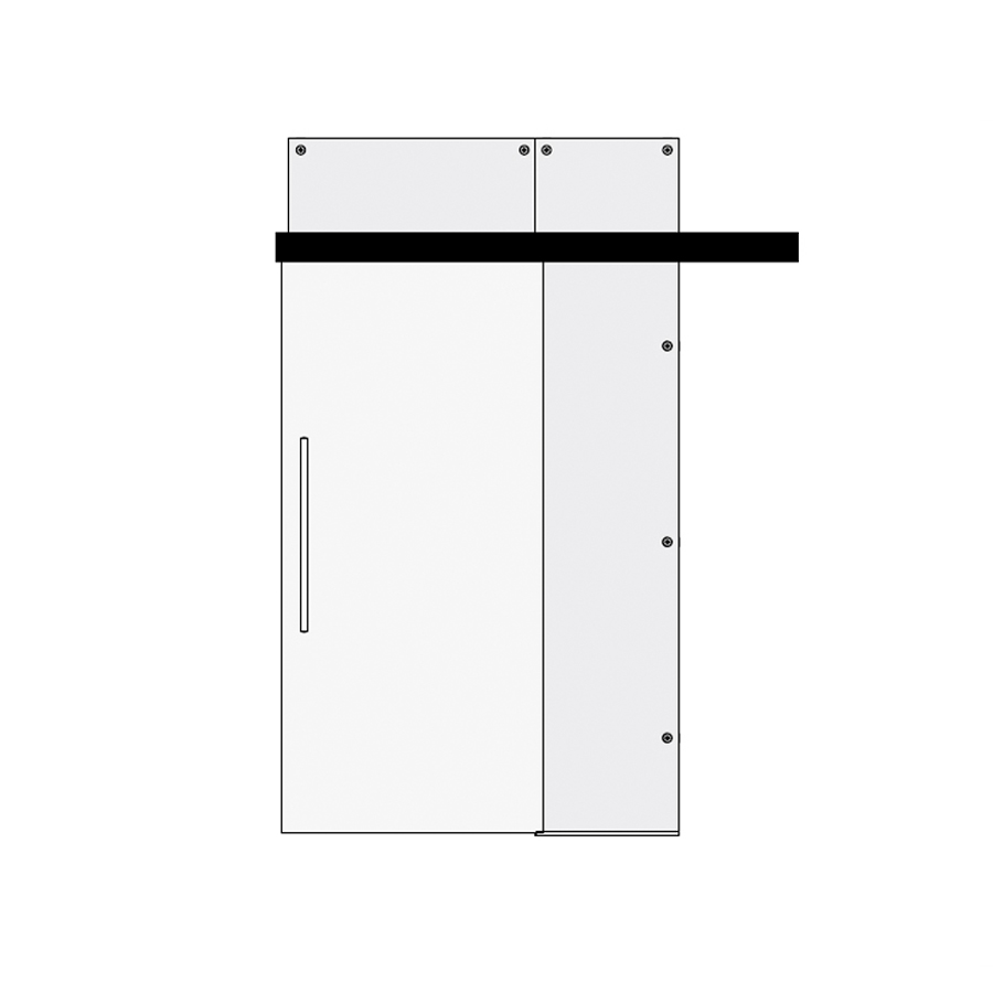 Glass single sliding door with top and side panel