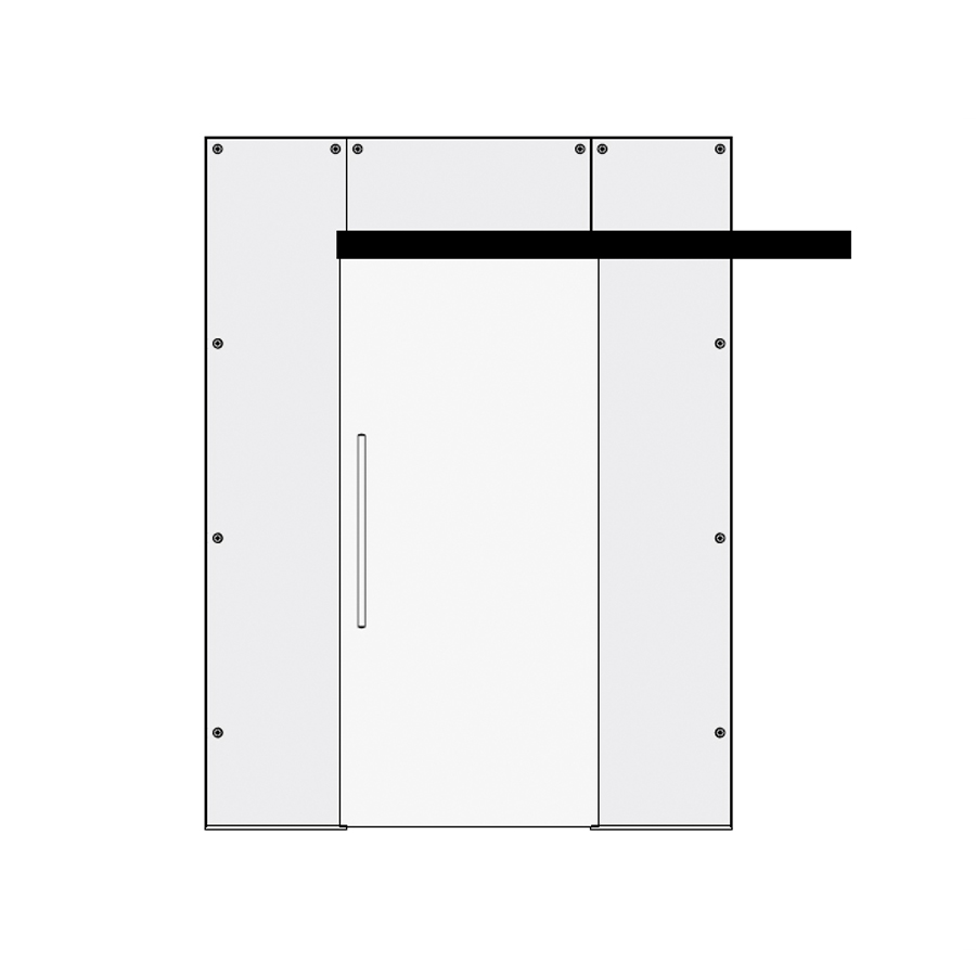 Glass single sliding door with top and side panels