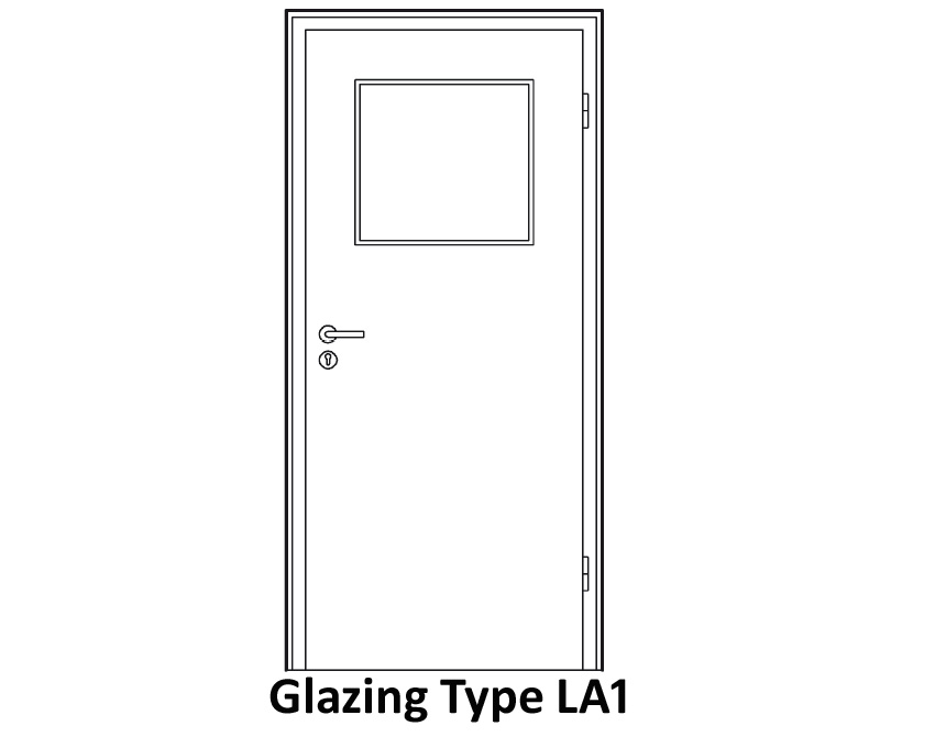 Glazing Design Available For SK2 Soundproof Doors Of 45mm Door Thickness  With Clear Or Frosted Laminated Safety Glass Of 9 Mm Thickness: LA1, LA4,  And LA11