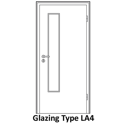 LA4 glazing for smoke proof doors