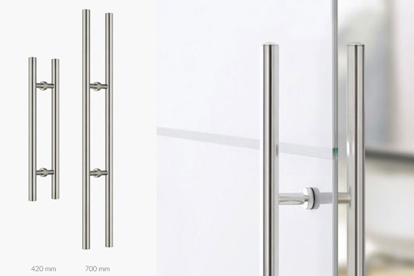Bar handles for glass doors