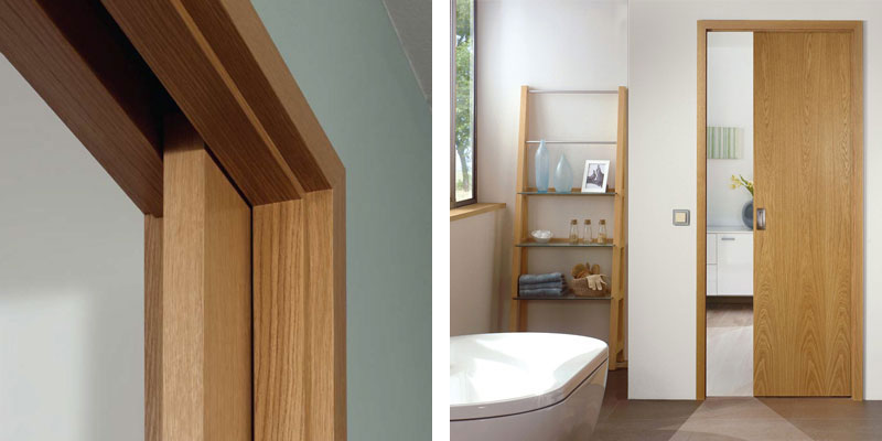 oak pocket doors