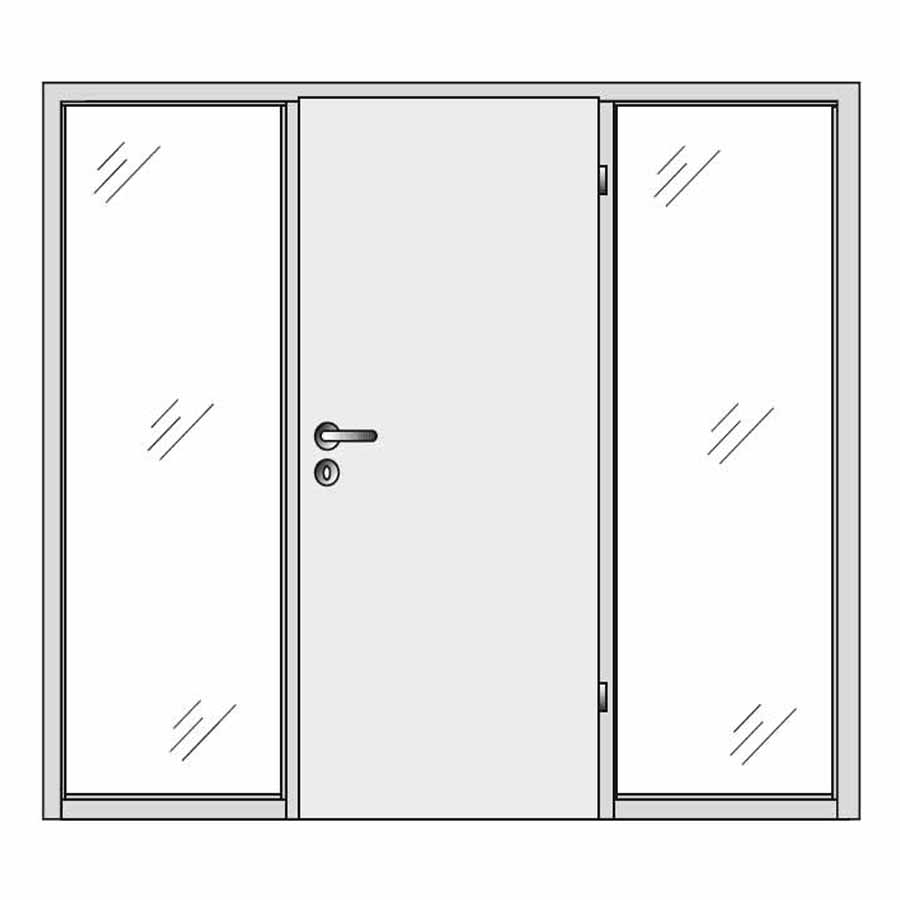 Single door with double side panels