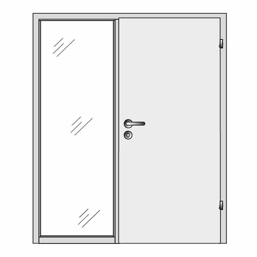 Single door with side pane