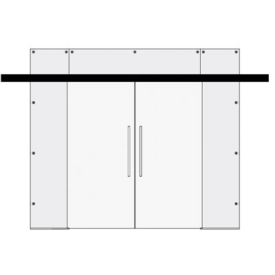 Double sliding doors with 2 side and to panels