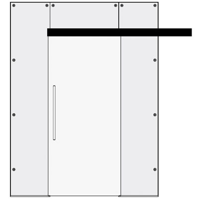 Single sliding door with 2 side and top panels