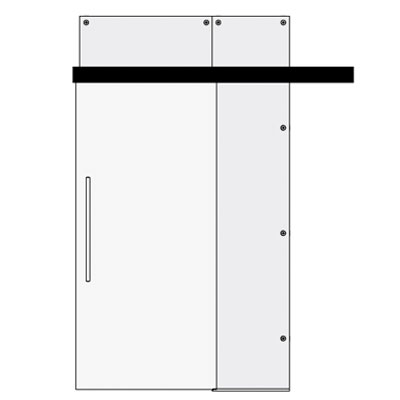 Single sliding door with side and top panel