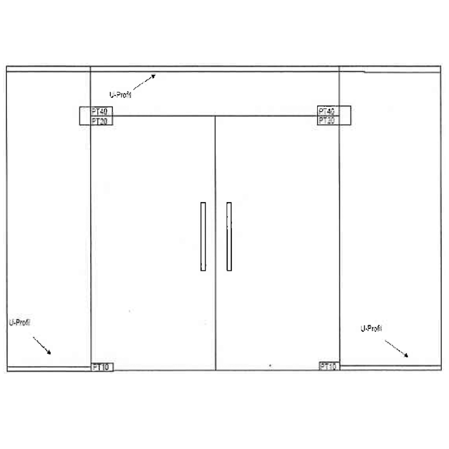 Swing glass double doors with top and two side panels
