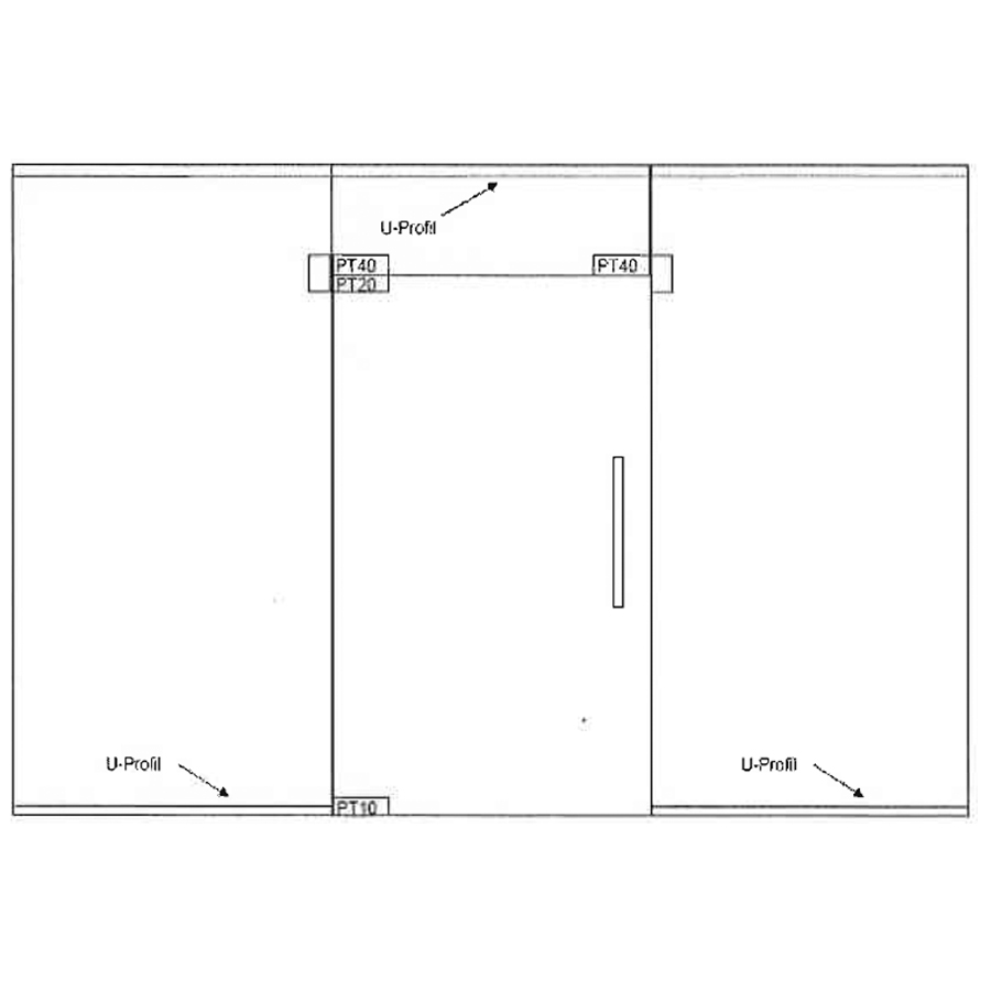 Swing single glass door with top and two side panels