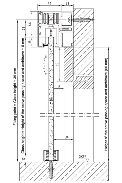 Technical details for sliding system fitted on top of the frame