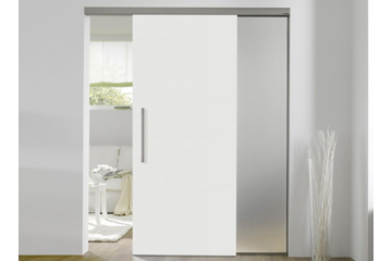 White sliding door with side panels