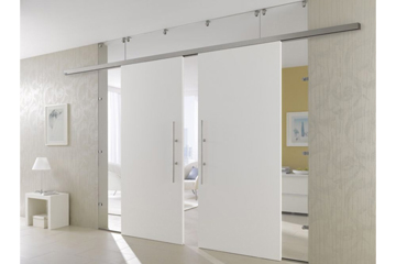 Double white sliding doors