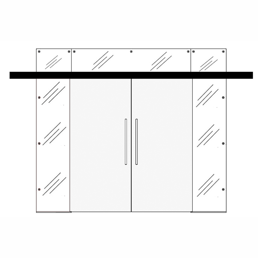 Wooden double sliding doors with side and top panels