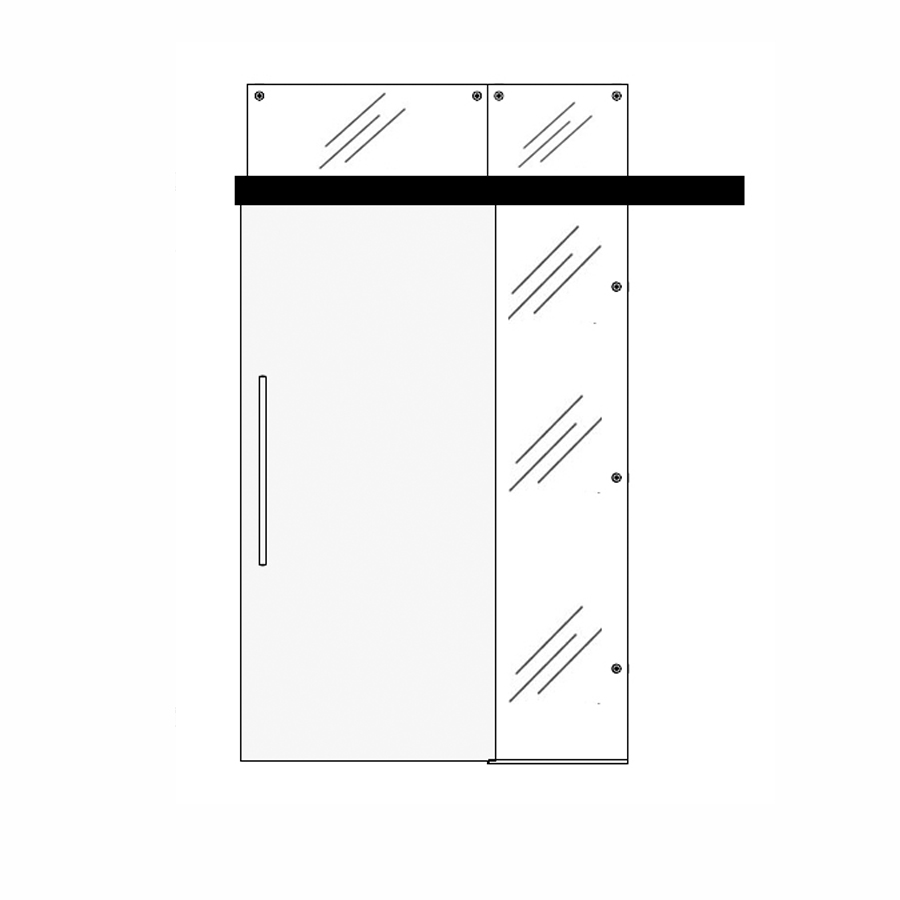 Wooden single sliding door with one top and one side panel