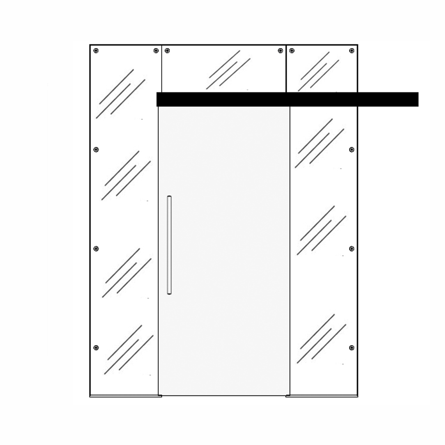 Wooden single sliding door with top and side panels