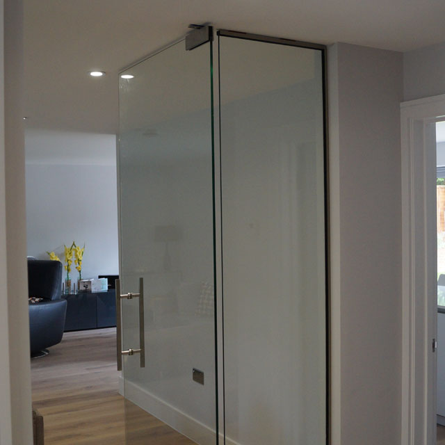 Clear glass door with hardware fitted project