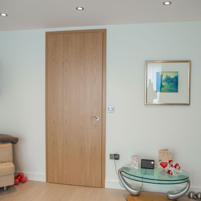 contemporary tall oak doors