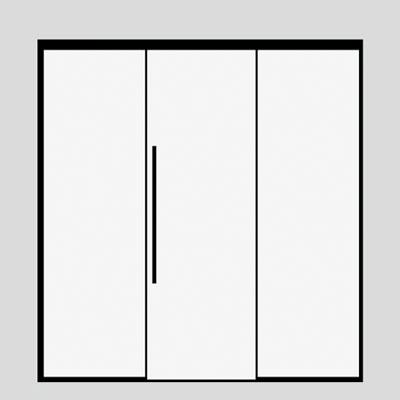 single sliding door with 2 side panels