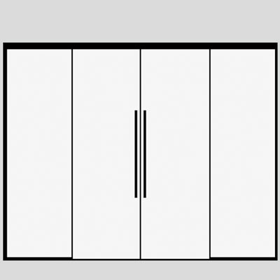 Sliding double doors with 2 side panels