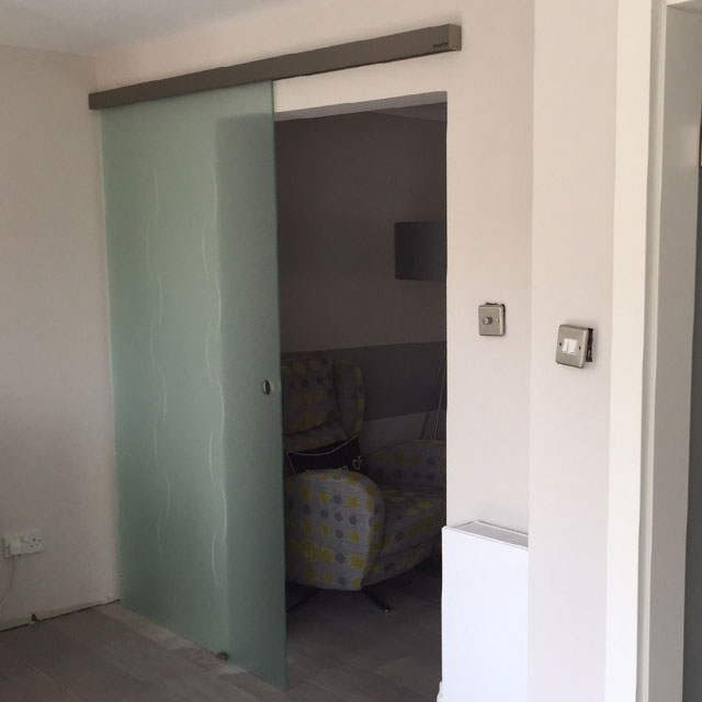 frosted glass sliding doors