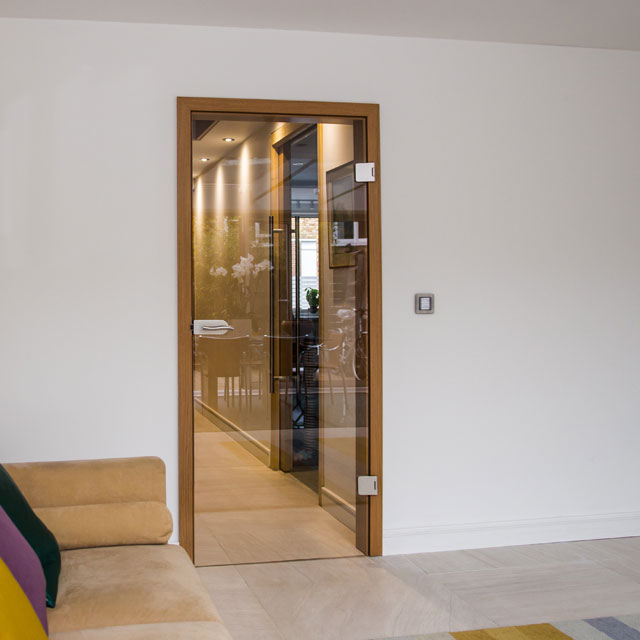 hinged clear glass door set fitted project