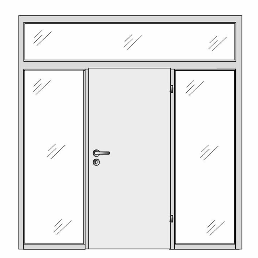 single door with sides and top glass panels