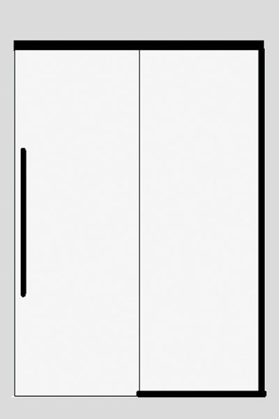 Sliding door on top of a side panel