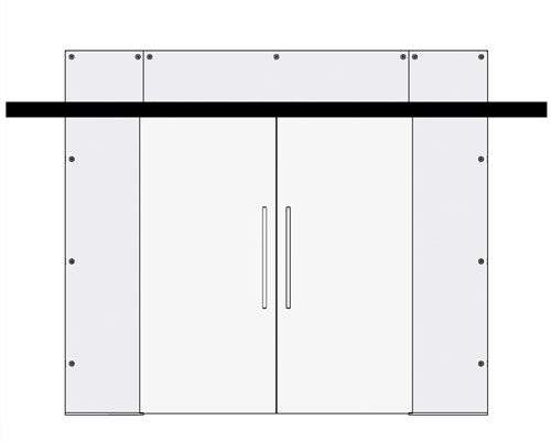Double sliding doors with side and top panels