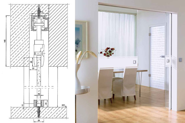 Glass pocket doors double doors pocket sliding glass doors technical drawing for sliding pocket door without frame glass pocket doors planetlyrics Gallery
