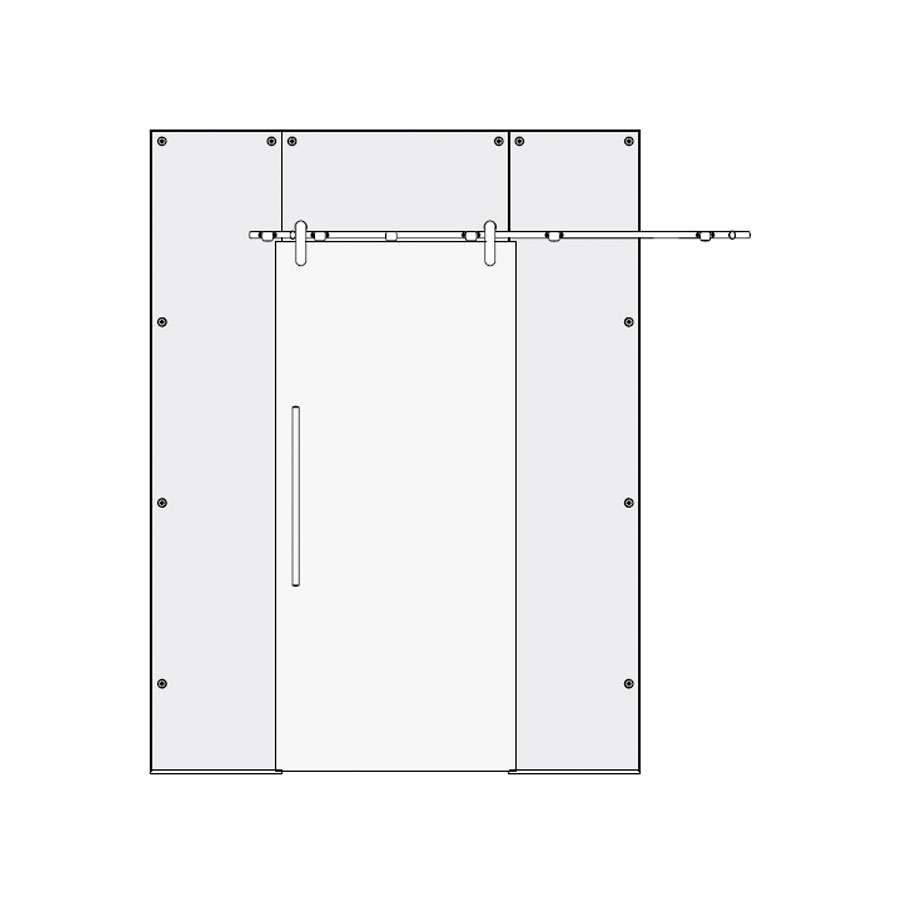 sliding single door with side and top panel type 2