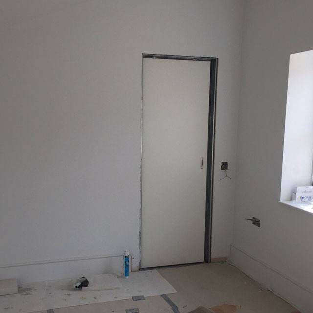 white painted pocket doors