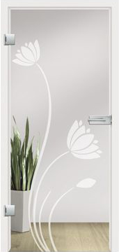 Wasserlilie design on clear glass