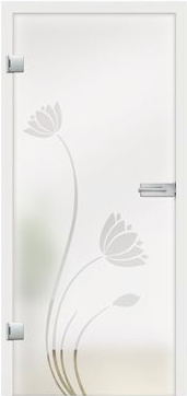 Wasserlilie design on frosted glass