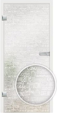 Barista White writing design on frosted  glass