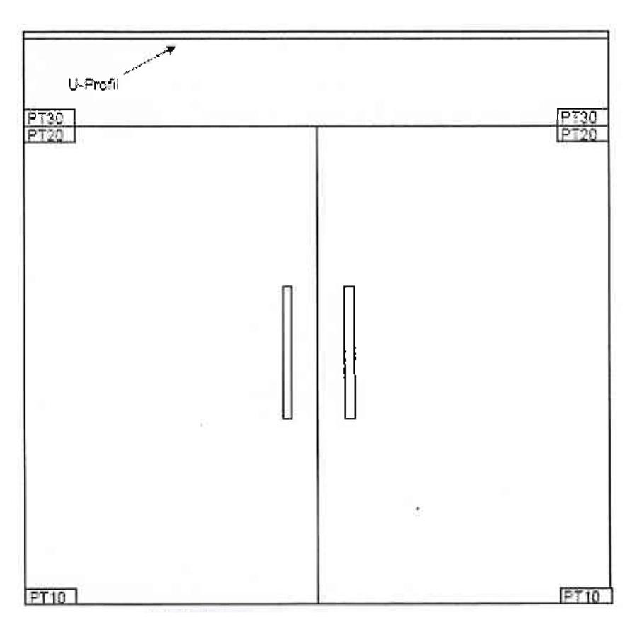 Double Swinging Doors Wave Type 1 Grooved Glass Door Design