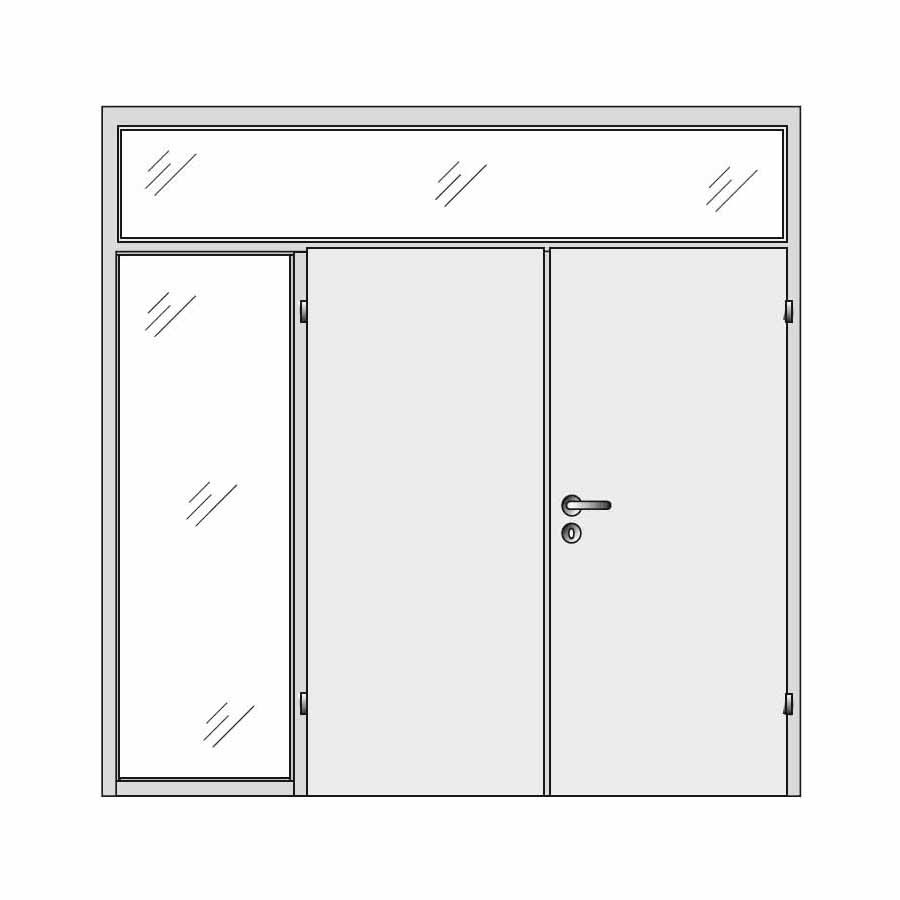 Double door with side and top panel