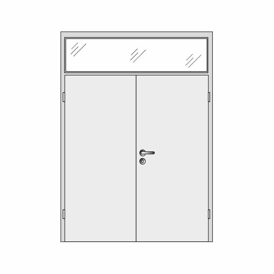 Double doors with top glass panel